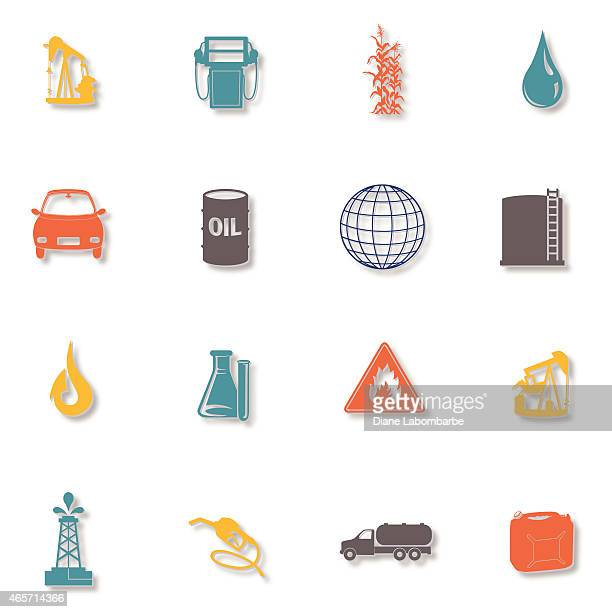 Set of Sixteen Fuel Icons