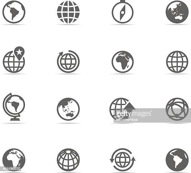 a set of sixteen globe related icons - latin america stock illustrations, clip art, cartoons, & icons