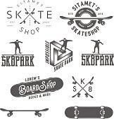 Set of skateboarding labels, badges and design elements
