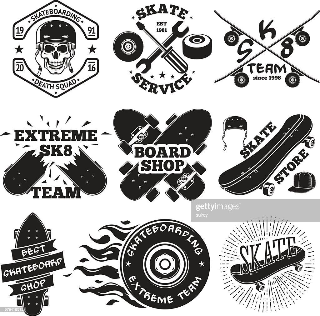 Set of skateboarding labels - skull in helmet, repair, skate
