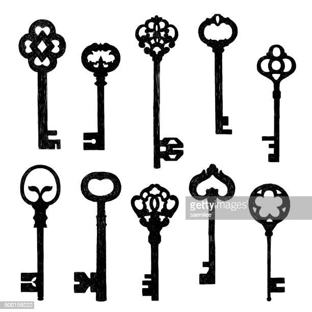 reihe von skizze alten schlüssel - 19. jahrhundert stock-grafiken, -clipart, -cartoons und -symbole