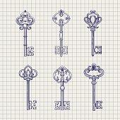 Set of sketch ornamental keys