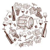 Set of sketch wine icons in circle shape background