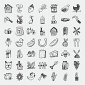 Set of sketched icons of country life and agriculture