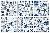 Set of Ski and Snowboard Club seamless pattern. Vector illustration