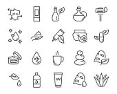 set of skin icons, such as facial, alovera, gel, moisture