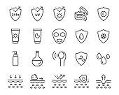 set of skin line icons, facial sun block icon, facial mask
