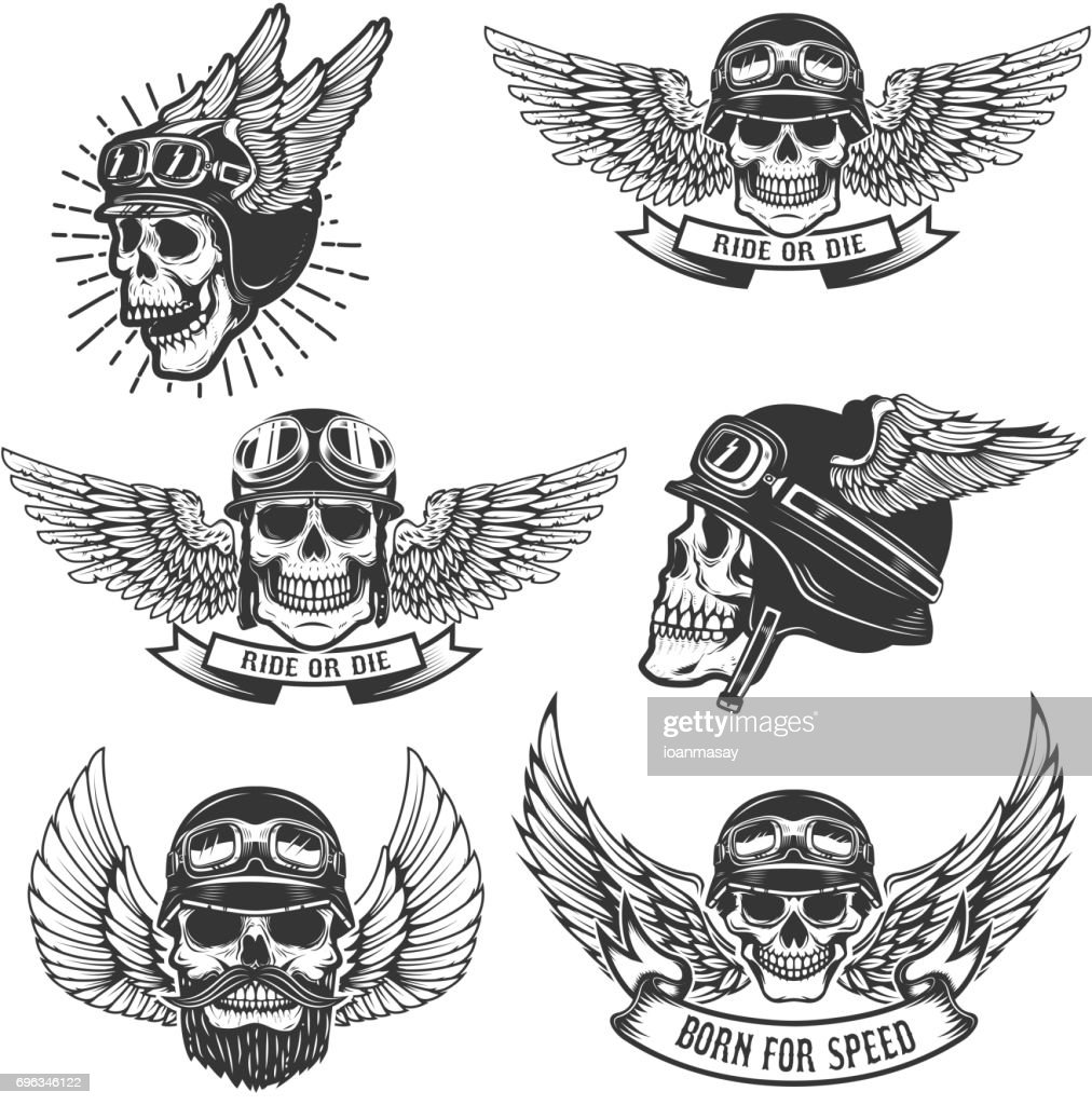 Set of skulls in winged motorcycle helmets. Design elements for label, emblem, sign, badge. Vector illustration