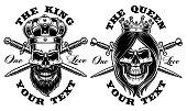 Set of skulls king and queen. Vector illustration.