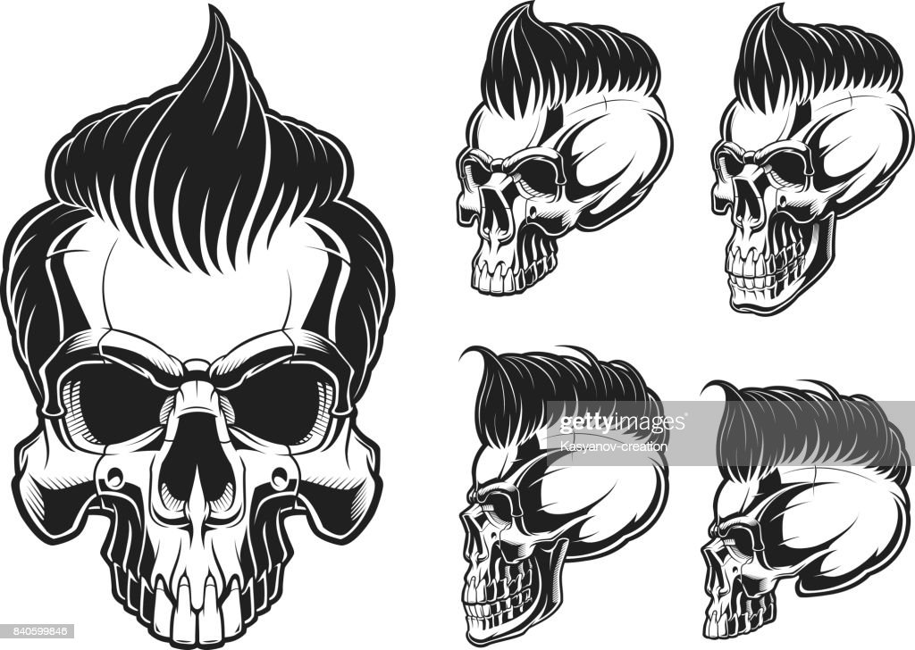 Set of skulls with hair
