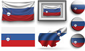 set of slovenia flags collection isolated on white