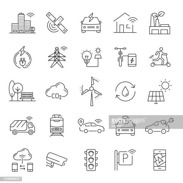 illustrazioni stock, clip art, cartoni animati e icone di tendenza di set di icone di linea correlate alla città intelligente. tratto modificabile. icone di contorno semplici. - città intelligente