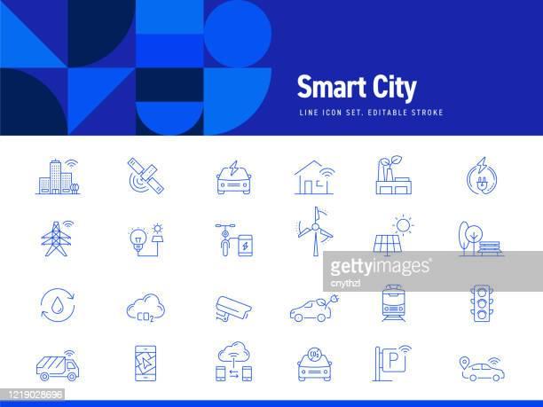 illustrazioni stock, clip art, cartoni animati e icone di tendenza di set di icone di linea correlate alla città intelligente. tratto modificabile. icone di contorno semplici. - internet delle cose
