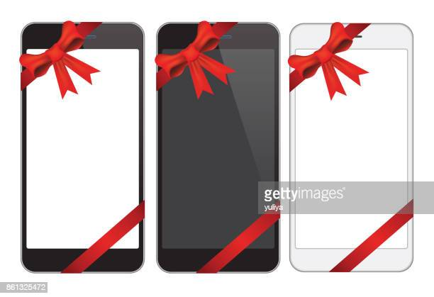 Set of Smart Phone with Ribbon
