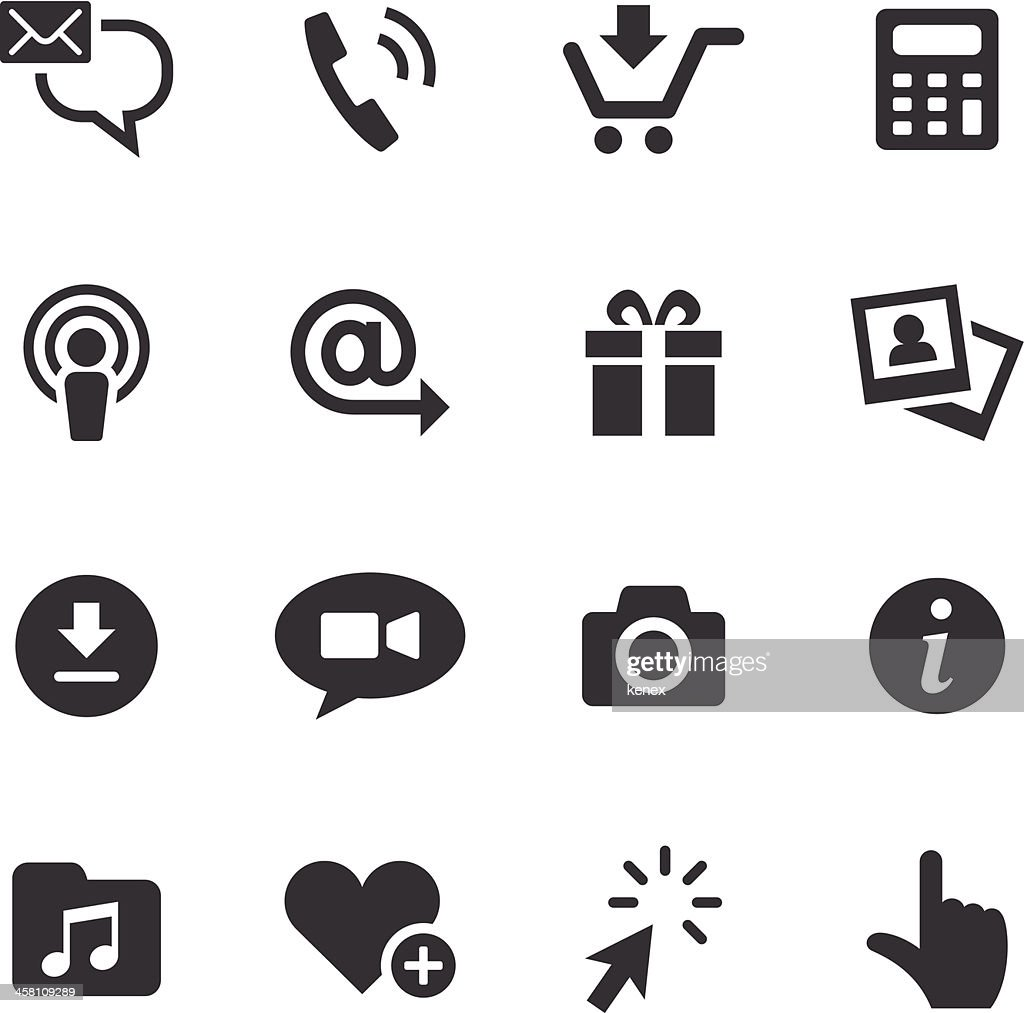 Set of smartphone apps black and white icons