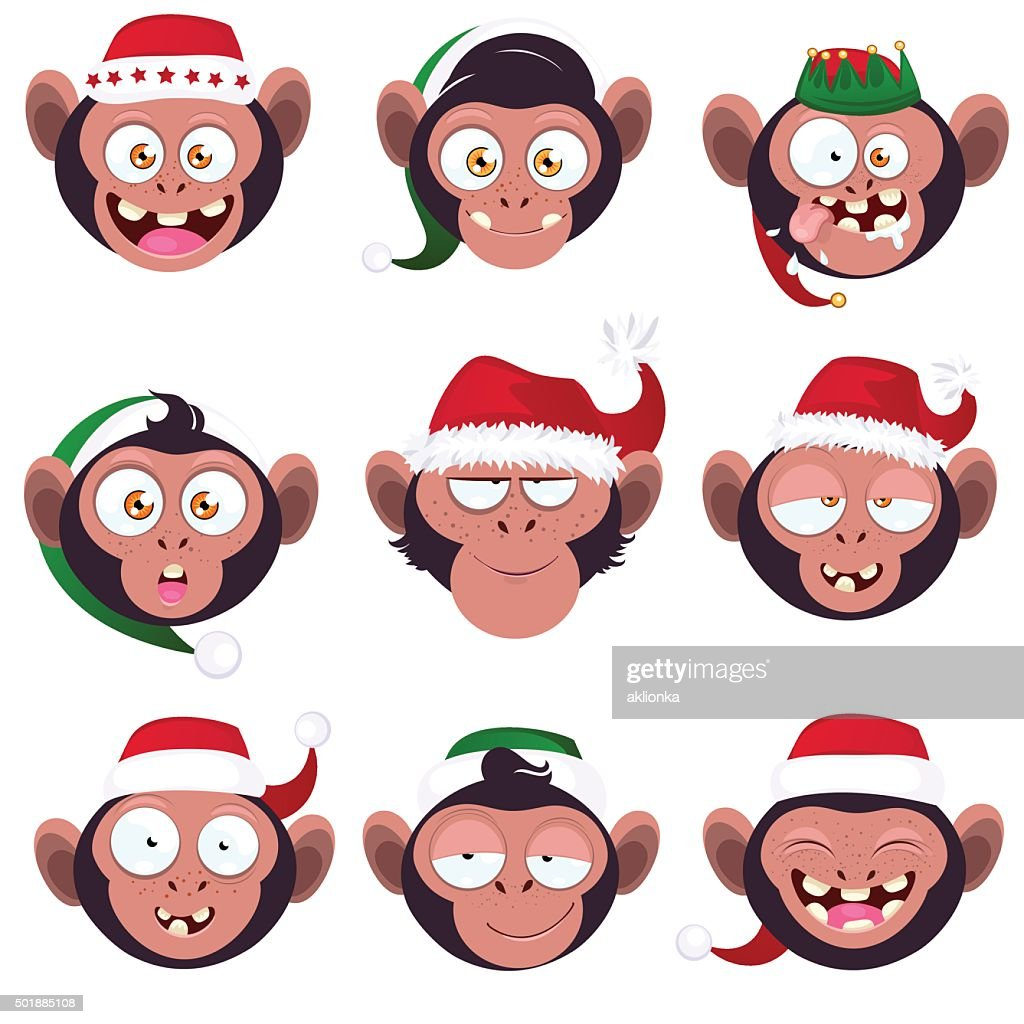 Set of smiles monkeys