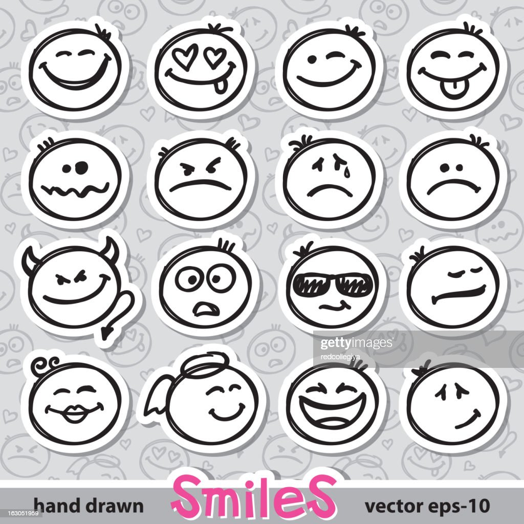 set of smiles, vector eps 10