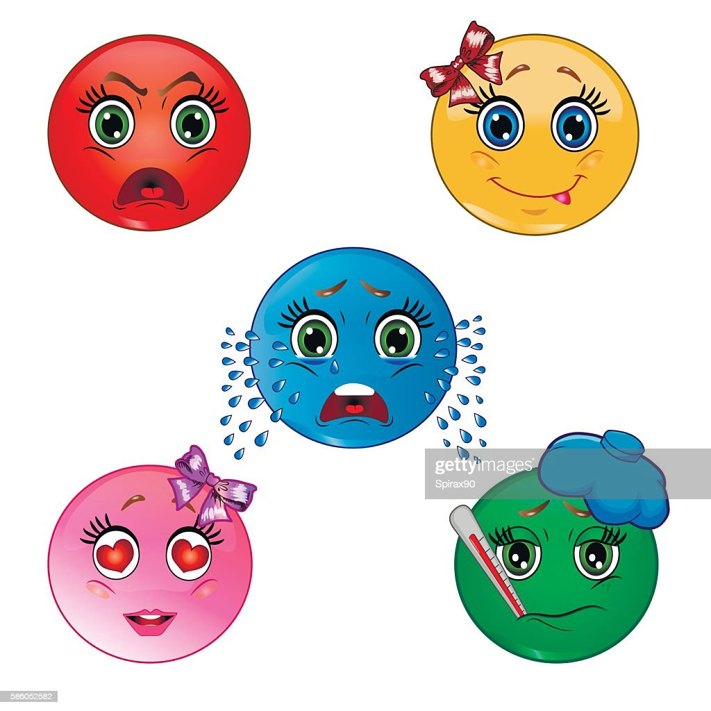 Set of smileys. Angry, happy, crying, love, sick emoticon