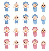 Set of smiling babies with blue and pink clothes