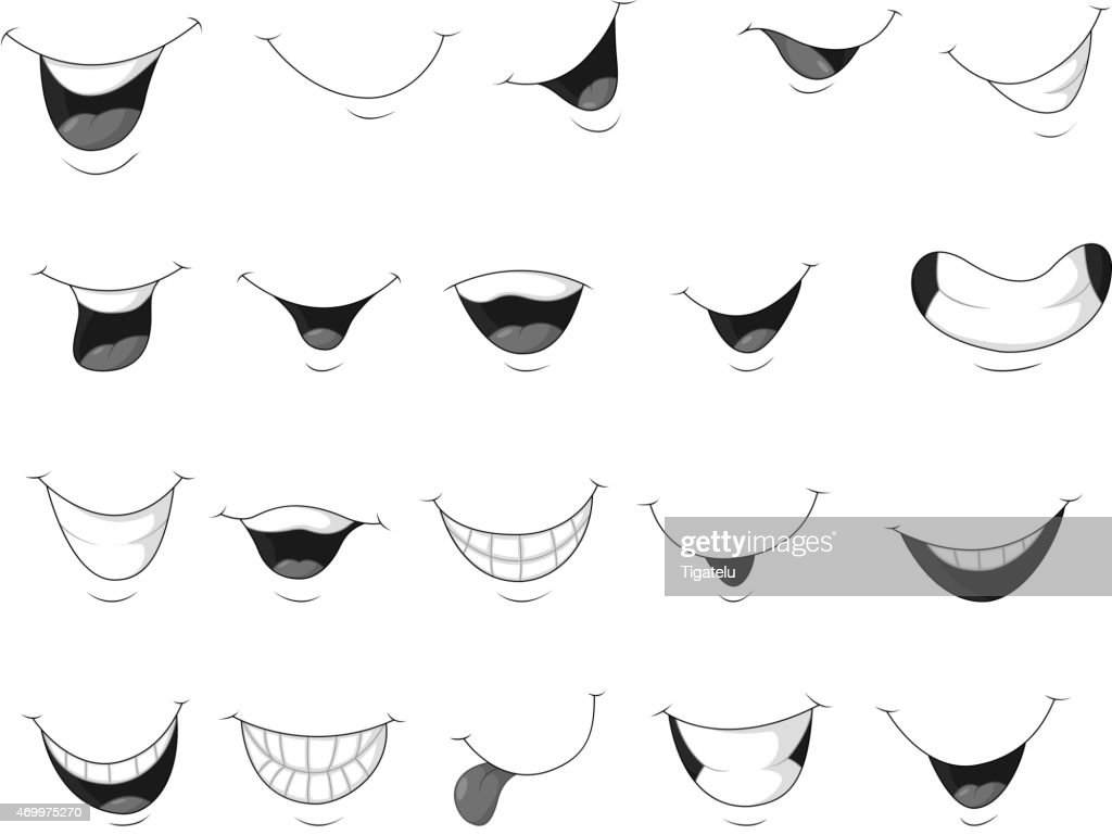 Set of smiling mouth cartoon