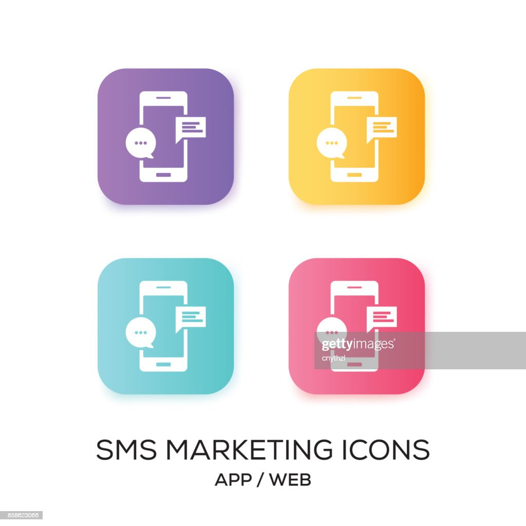 Satz von SMS Marketing App-Symbol : Stock-Illustration