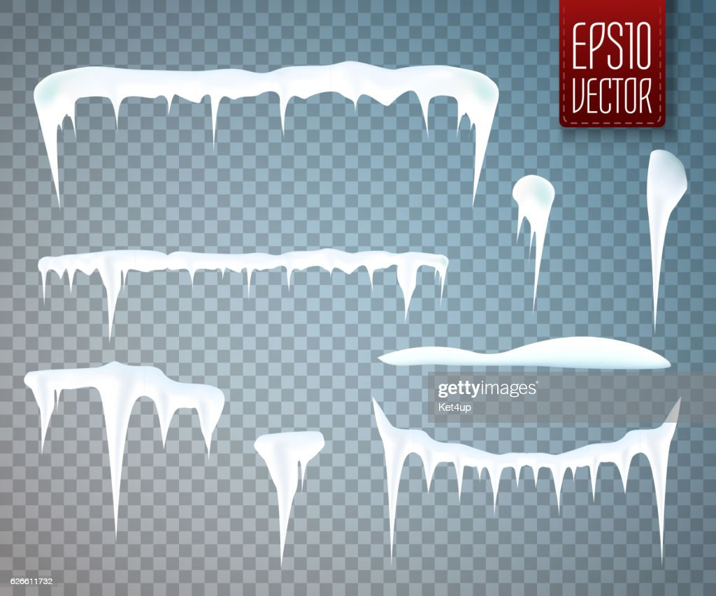 Set of snow icicles isolated on transparent background. Vector