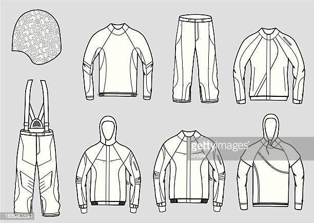 set of snowboard clothes vector outlines - jacket stock illustrations