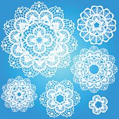 Set of snowflakes doilies.