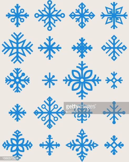 Satz von Schneeflocken. Strichzeichnung. Nahtlose Muster.
