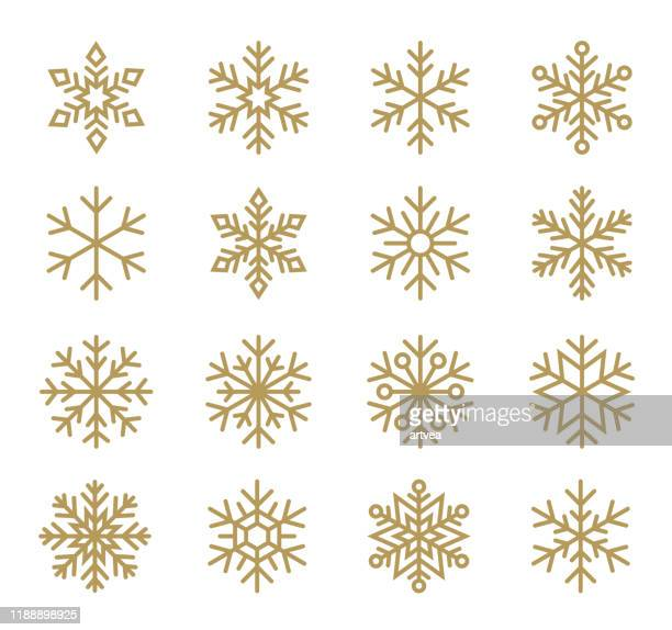 bildbanksillustrationer, clip art samt tecknat material och ikoner med uppsättning snöflingor. linje ikoner inställd. - stjärnformad