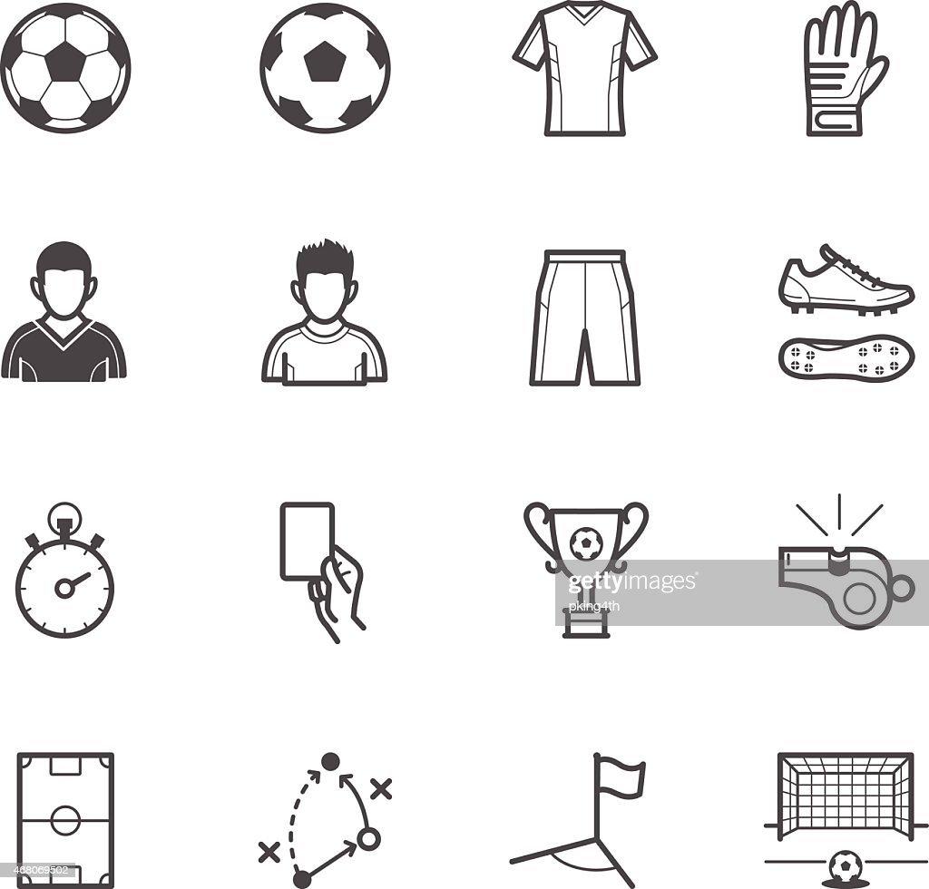 Set of soccer and accessories icons