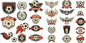 Set of soccer club labels