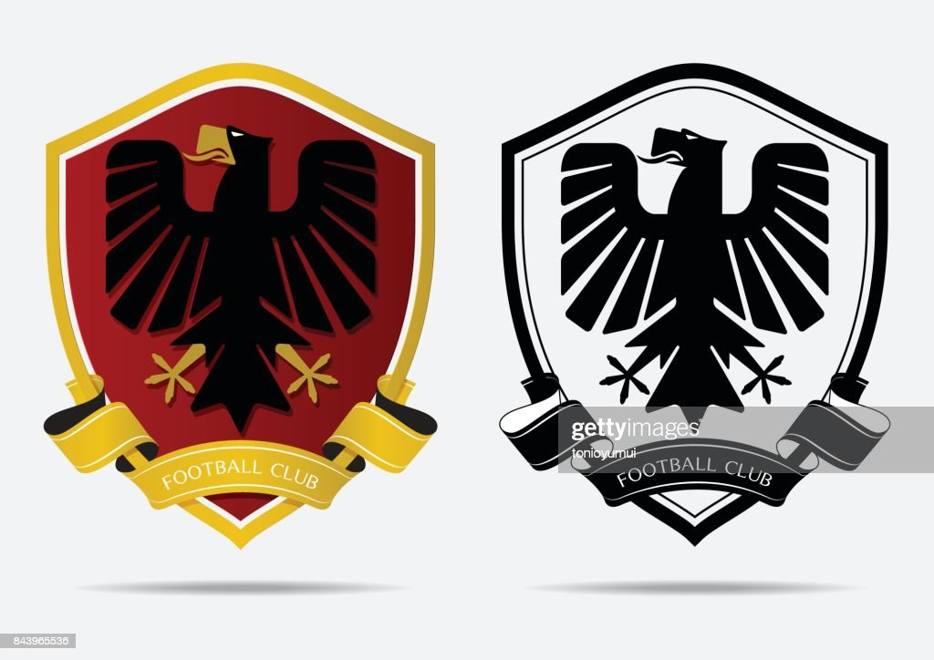 Set of Soccer Football Badge icon Design Template. Sport Team Identity. Minimal design of eagle in golden border on red shield. Football club icon in black and white icon. Vector