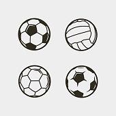 set of soccer, football balls. vector illustration