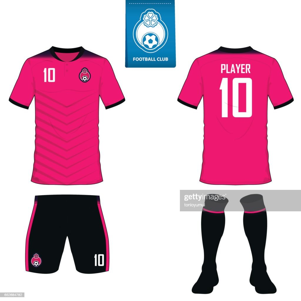 Set of soccer kit or football jersey template for football club. Flat football logo on blue label. Front and back view soccer uniform. Vector.