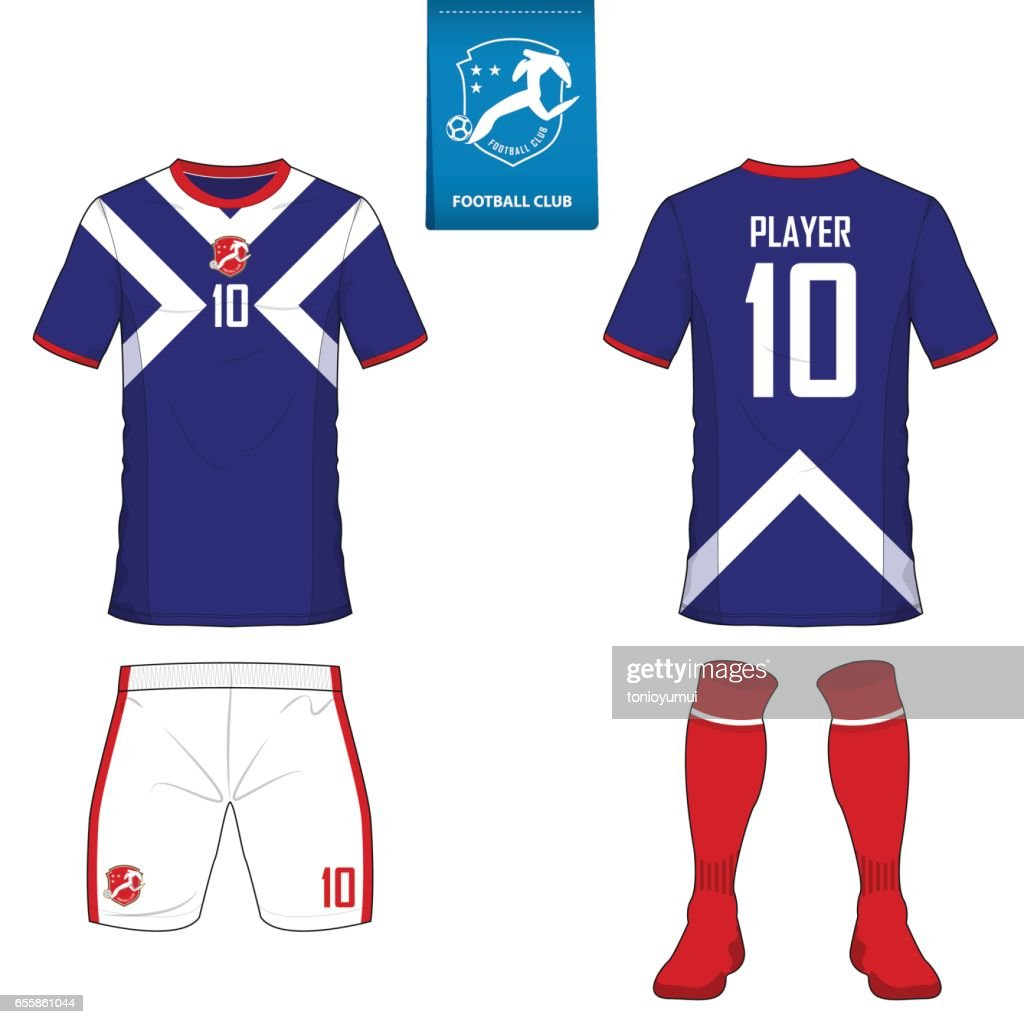 Set of soccer kit or football jersey template for football club. Flat football on blue label. Front and back view soccer uniform.