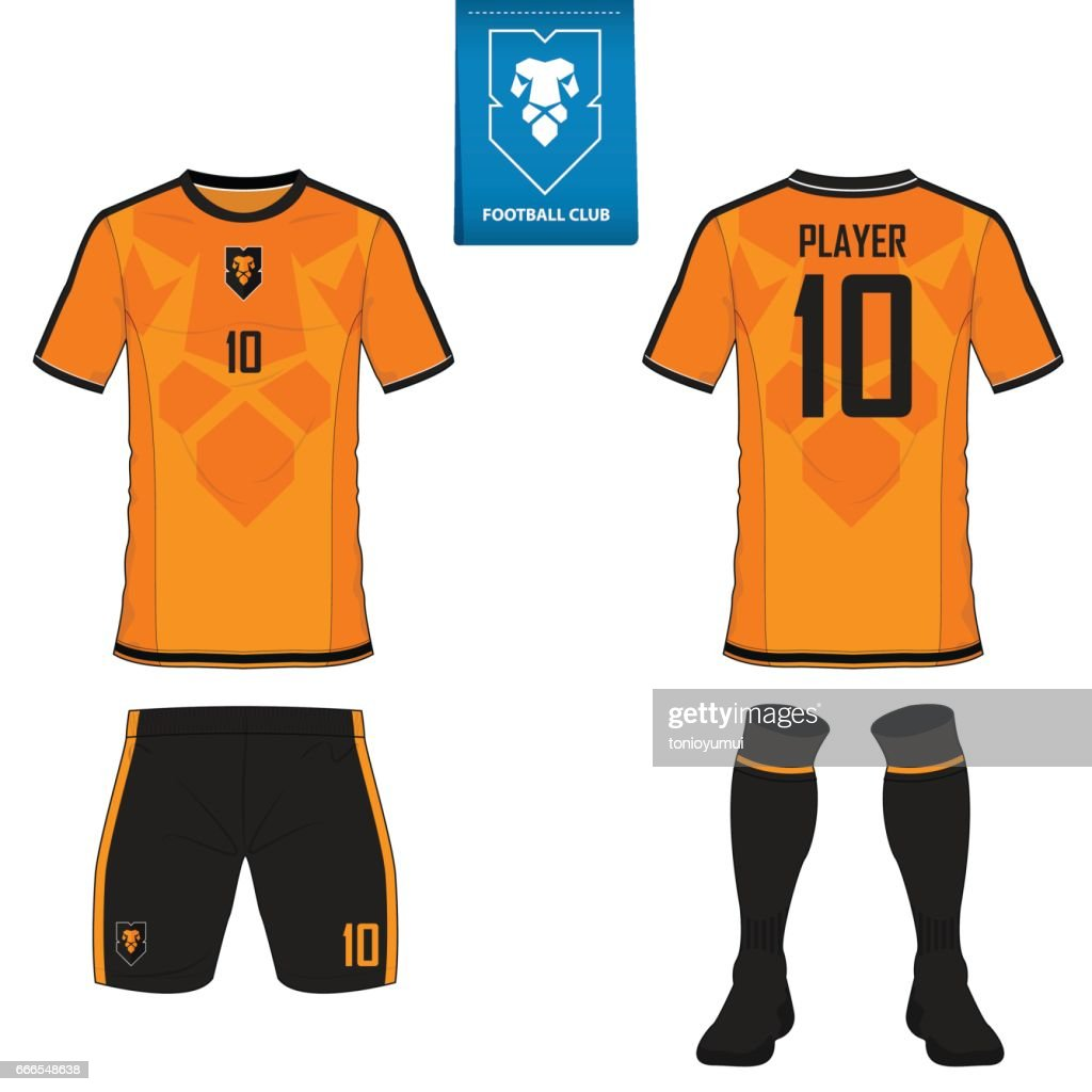 Set of soccer kit or football jersey template for football club. Flat football on blue label. Front and back view soccer uniform. Football shirt mock up.