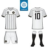 Clothing And Accessories Icons Set Of Soccer Kit Or Football Jersey Template For Club Flat On Blue