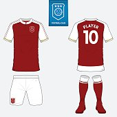 Set of soccer or football kit template for football club. Vector.