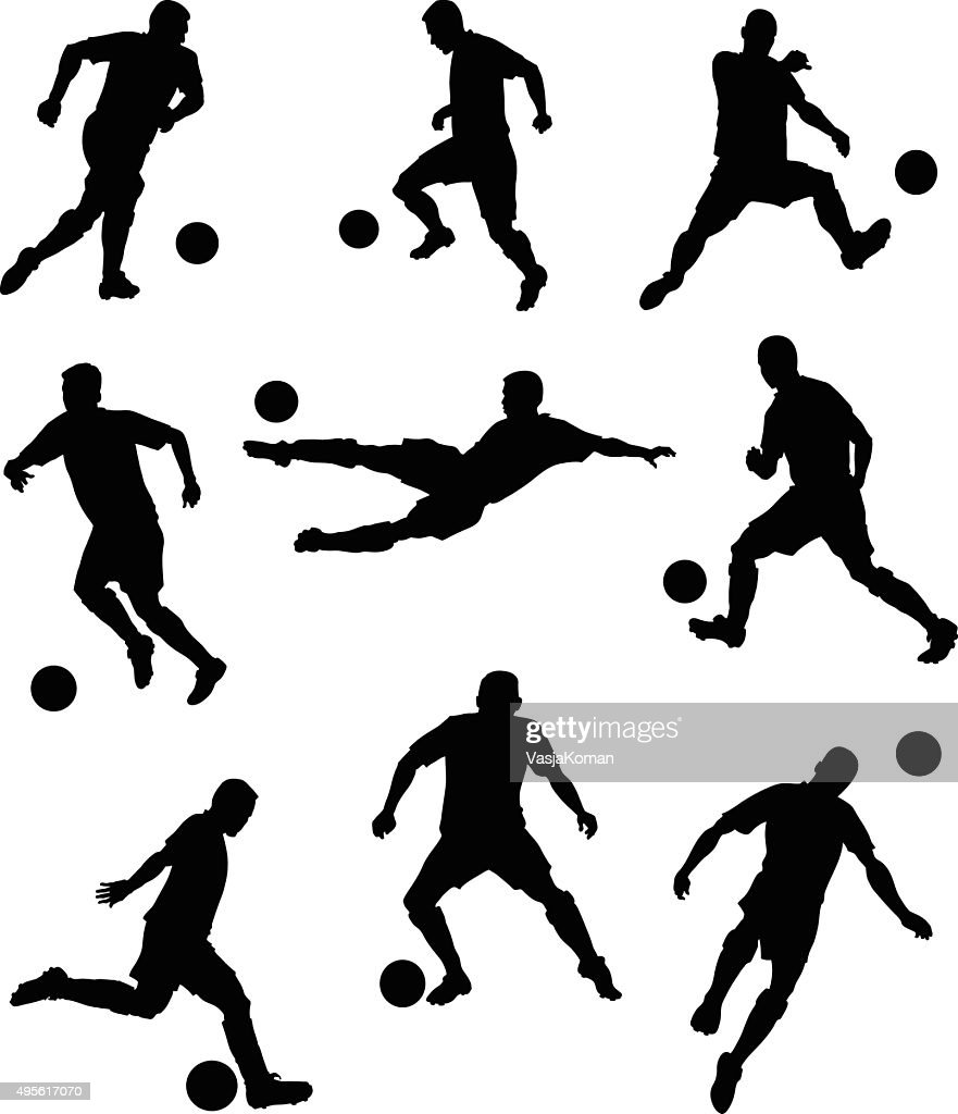 Set of Soccer Players Silhouettes : stock illustration