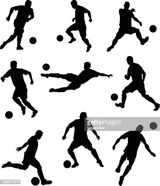 set of soccer players silhouettes - midfielder soccer player stock illustrations