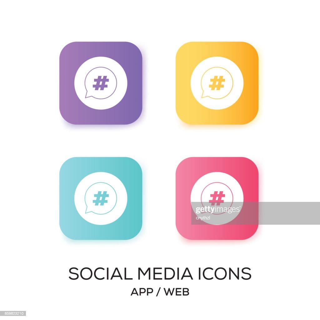 Satz von Social-Media-App-Symbol : Stock-Illustration
