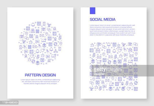 satz von social media icons vektor muster design für broschüre, jahresbericht, buch cover. - zwischenbericht stock-grafiken, -clipart, -cartoons und -symbole