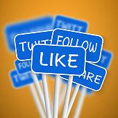 Set of Social Media Network Road Signs. Like, Share, Follow