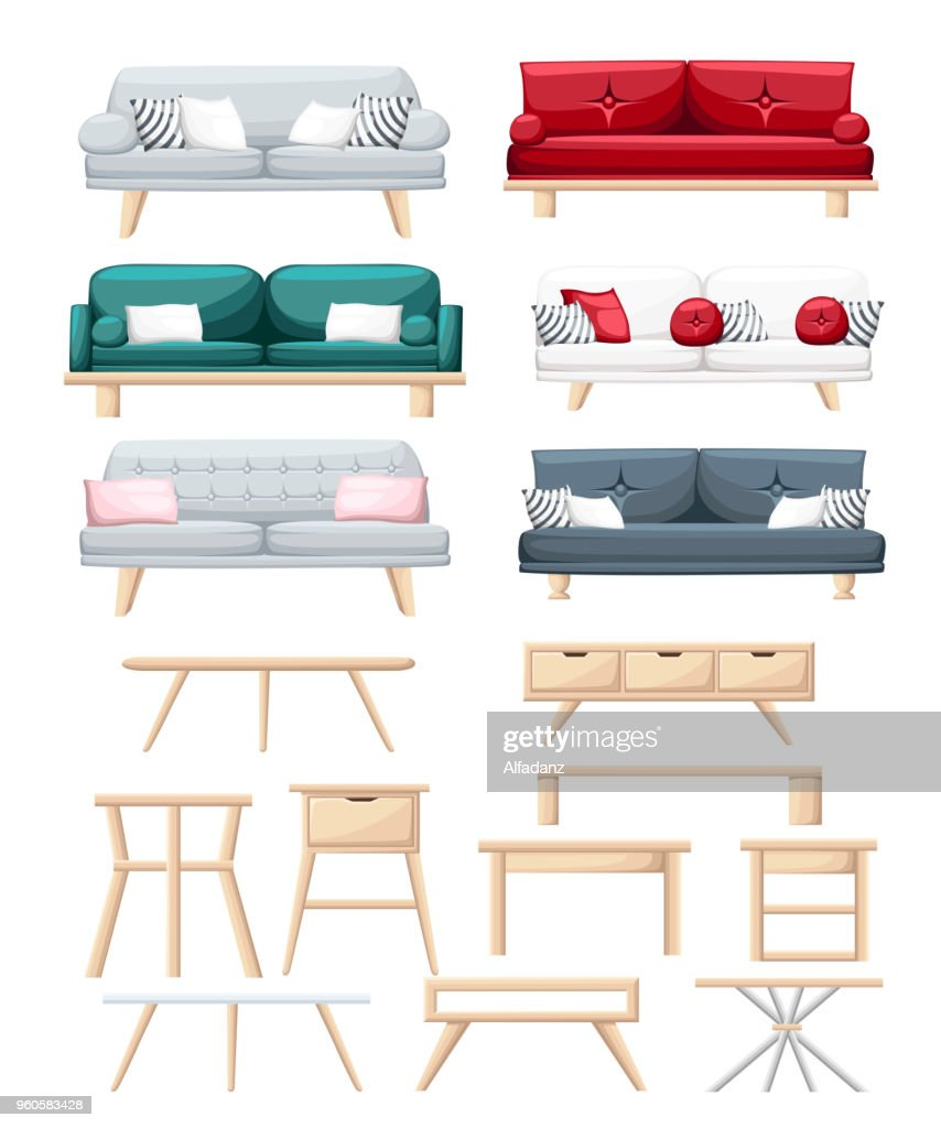 Set of sofas with pillows and different types of tables. Isolated on white background. Vector illustration. Website page and mobile app design