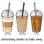Set of soft summer drinks in a plastic Cup to take away. Iced coffee, Iced Latte and tea.