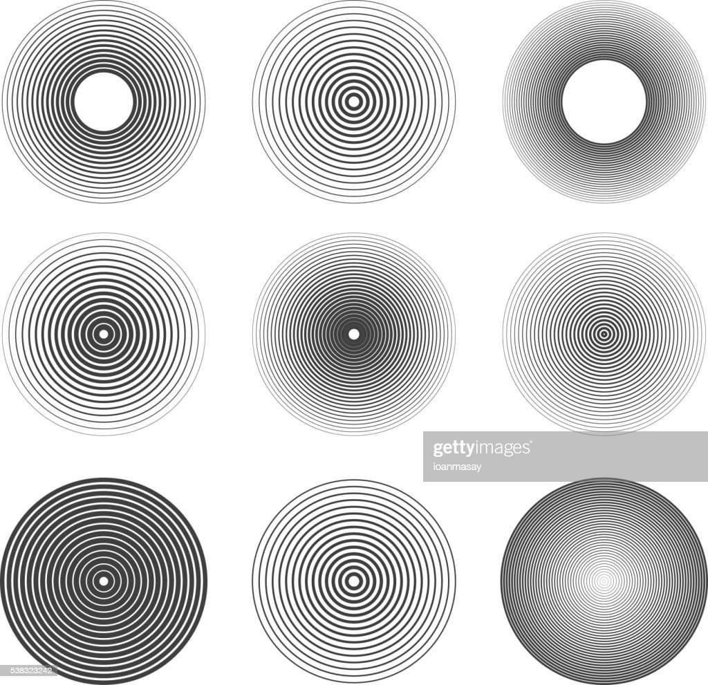 Set of sound waves rings abstract icons. Design elements