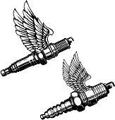 Set of spark plug with wings. Design elements for label, emblem, sign. Vector illustration