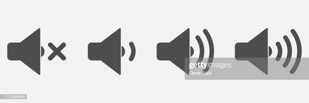 A set of speaker icons. Volume controls. Vector. - Vector
