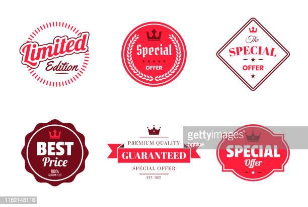 「特別オファー」のセット赤いバッジとラベル-デザイン要素 - 限定版点のイラスト素材/クリップアート素材/マンガ素材/アイコン素材